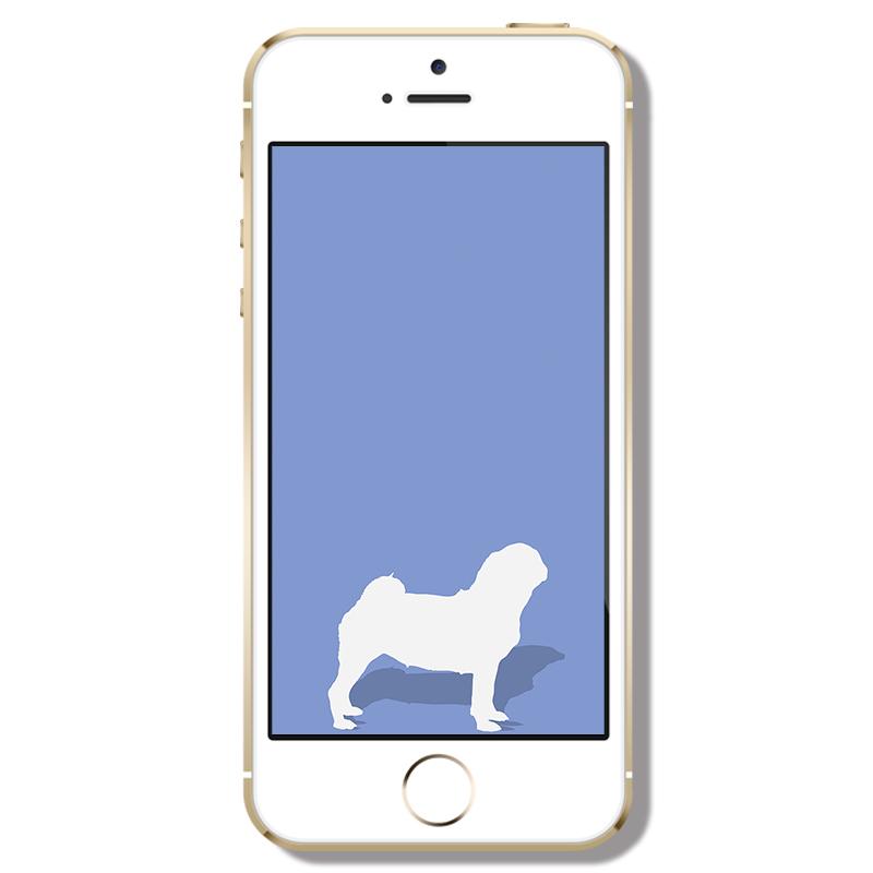Shadow Pug Phone Wallpaper | www.thepugdiary.com