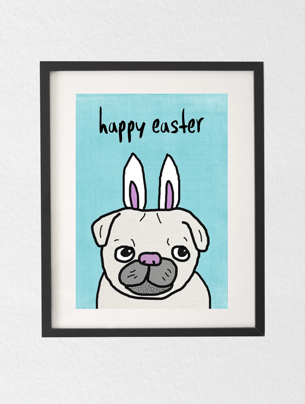 Free Easter Pugs Bunny Printable | www.thepugdiary.com