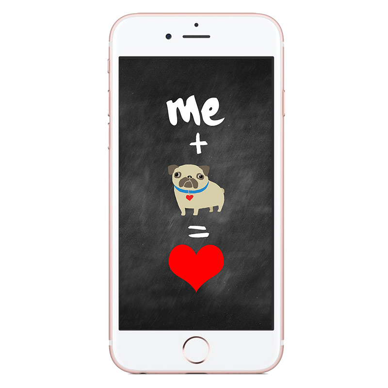 me + pug = love Phone Wallpaper | www.thepugdiary.com